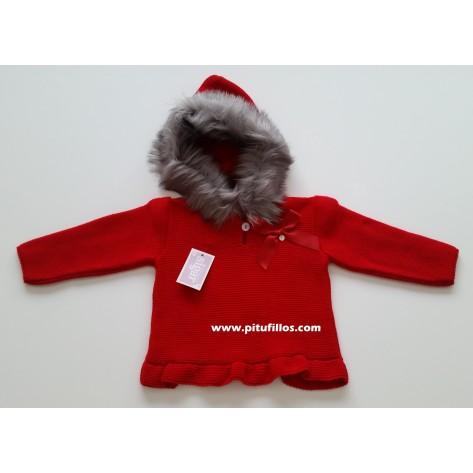 Jersey niña rojo con volante y capucha pelo
