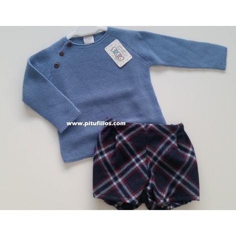 Conjunto suéter azulón y pantalón cuadros con rojo