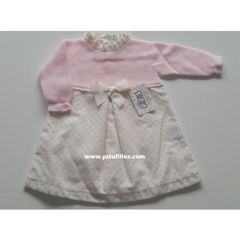Vestido combinado motitas flocadas rosas