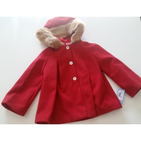 Capa abrigo abierta capucha pelo roja