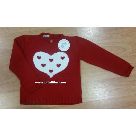 Jersey corazón rojo  y blanco