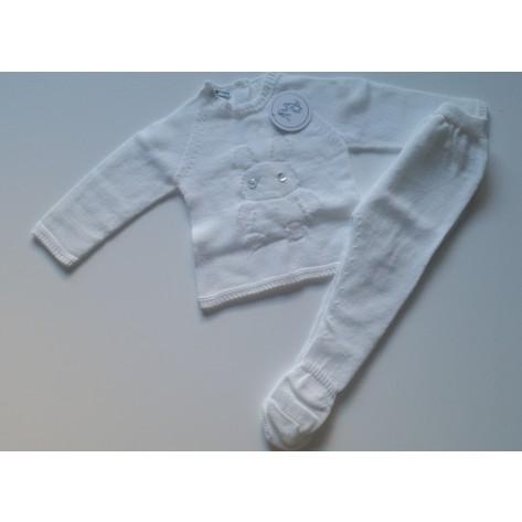 Conjunto polaina y jersey oso blanco