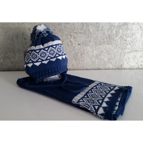 Gorro azulón greca blanca/gris con pompon + bufanda