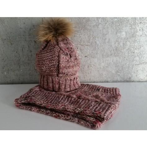 Gorro rosa/marrón con pompon pelo y cuello