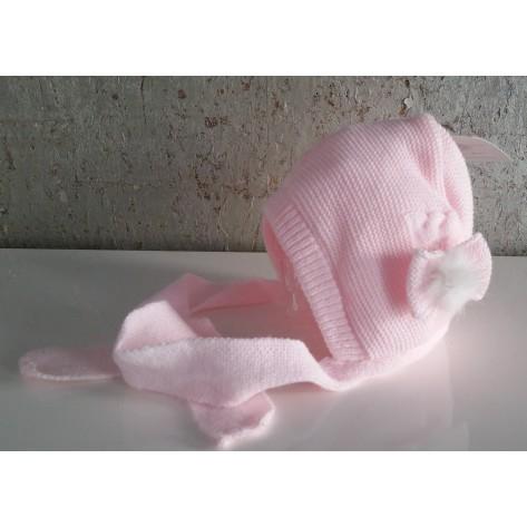 Capota bebé rosa con bufanda y pompon