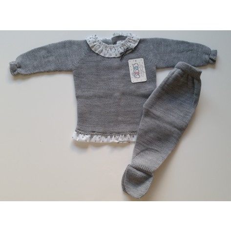 Conjunto polaina y jersey punto gris cuello plumeti