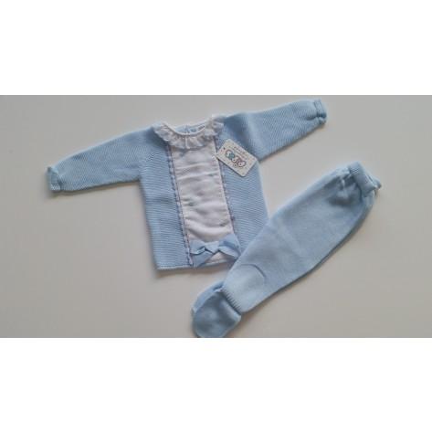 Conjunto polaina y suéter bodoques bordados celeste