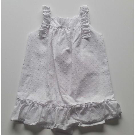 Vestido plumeti blanco puntilla hombros