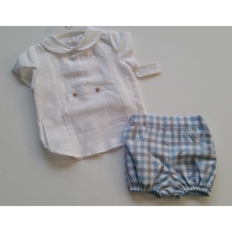 Conjunto bombacho cuadros azules y blusa blanca