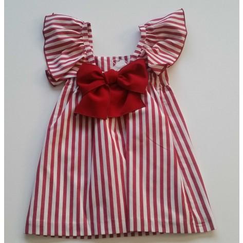Vestido rayas rojas/blancas lazada detrás