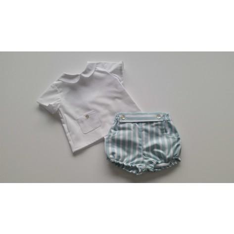 Conjunto bombacho rayas verde y blusa blanca bolsillo