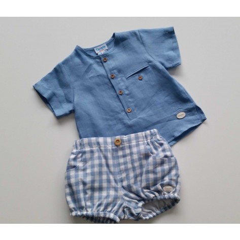 Conjunto bombacho vichy celeste y blusa azulón