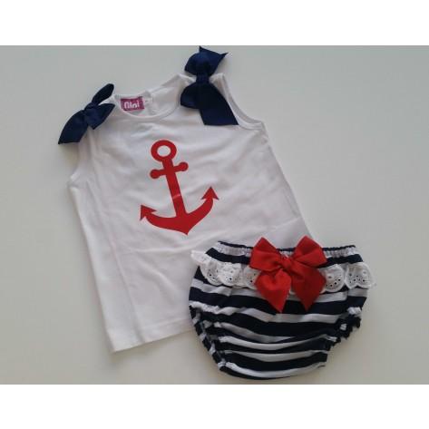 Conjunto marinero ancla roja braguita y camiseta