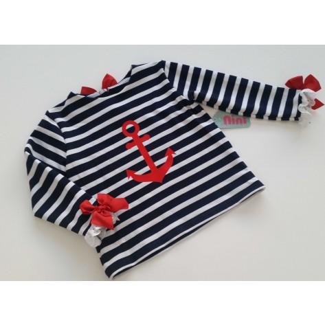 Sudadera marinera niña ancla roja