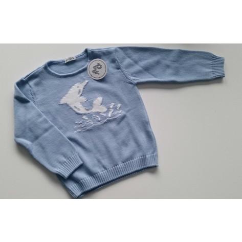 Jersey azul medio delfin blanco