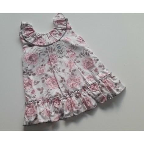 Vestido flores rosa y gris lazo espalda