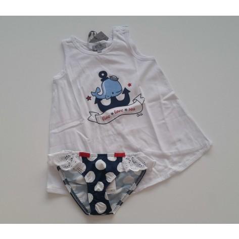 Conjunto camiseta ballena y culetín lunares