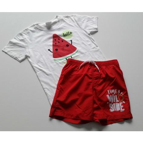 Bañador tela rojo y camiseta sandia