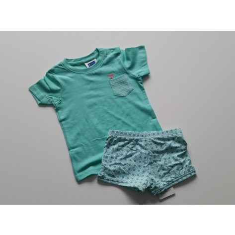 Conjunto boxer y camiseta verde agua rombos coral