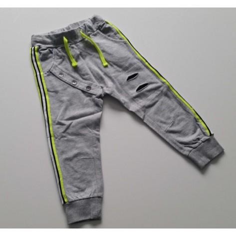 Pantalón largo gris claro rayas fluor