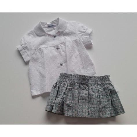 Braguita / falda engomada liberty turquesa y camisa plumeti