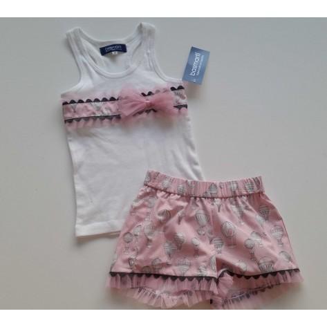 Conjunto short y camiseta globos rosa