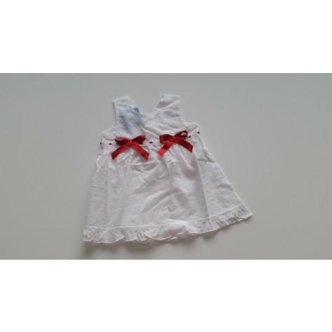 Vestido corto plumeti blanco y rojo