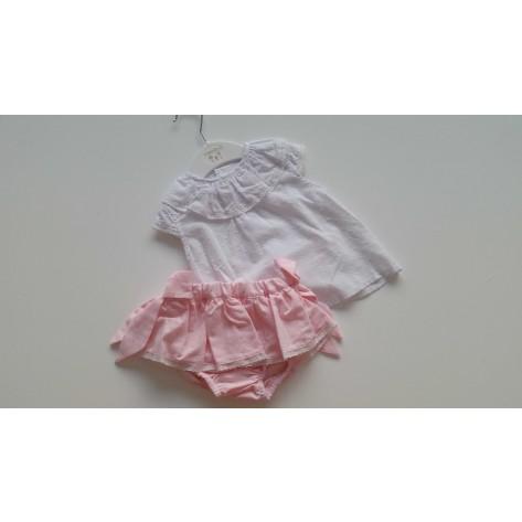 Conjunto culote rosa cuadritos y blusa plumeti