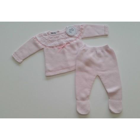 Conjunto polaina y jersey primavera cinta rosa