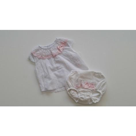 Conjunto braguita + blusa noa blanco y rosa
