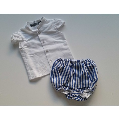 Conjunto blusa blanca y bombacho  rayas azulón