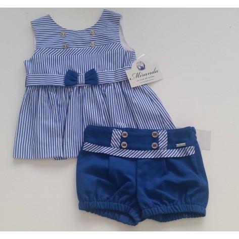 Conjunto short azulón y blusón rayas