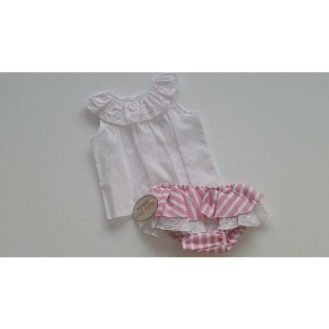 Conjunto braguita rayas rosa y blusa plumeti