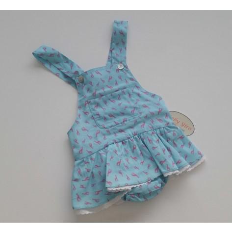 Ranita una pieza braguita con falda turquesa jirafas