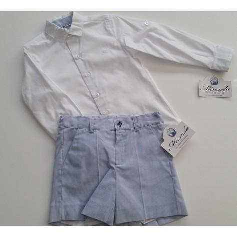Conjunto bermuda mini rayas celeste y camisa blanca