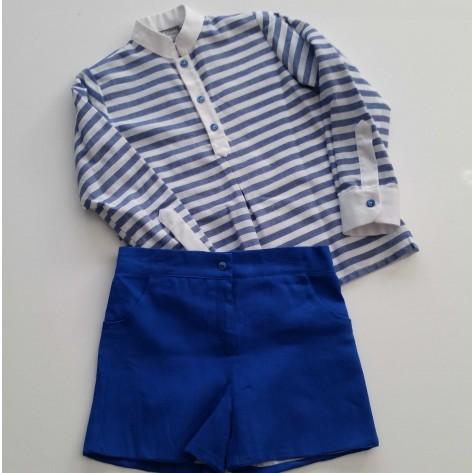 Conjunto bermuda azulón y camisa rayas cuello mao