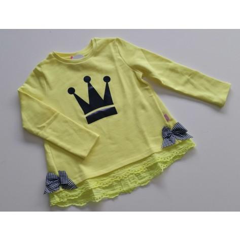 Sudadera niña amarilla fluor corona