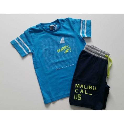 Conjunto bermuda marino y camiseta turquesa hurry up