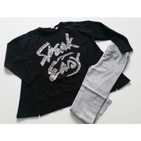 Conjunto leggins largo gris y camiseta negra plata