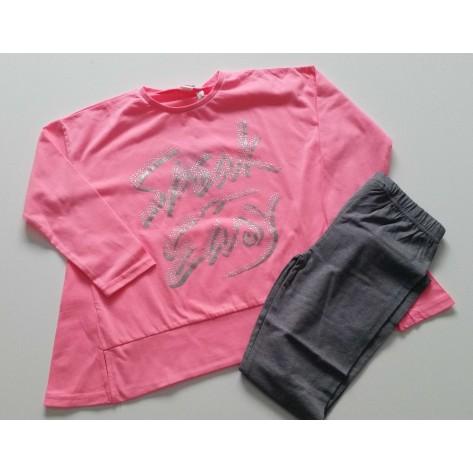 Conjunto leggins largo gris y camiseta fluor rosa