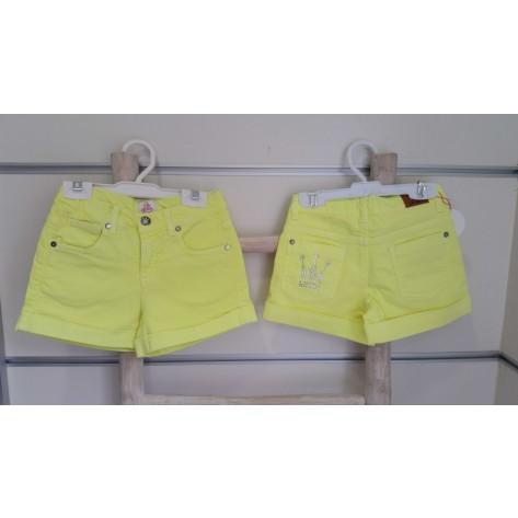 Short amarillo fluor corona niña