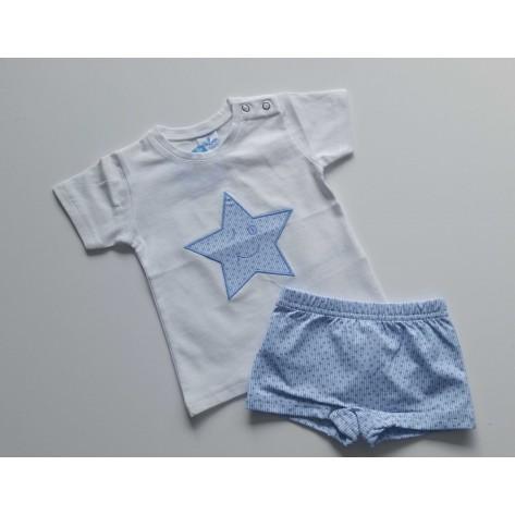 Conjunto boxer y camiseta estrellitas celeste