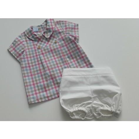 Conjunto bombacho blanco y blusa vichy rosa y arena