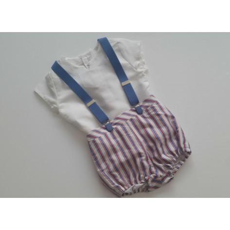 Ranita rayas anchas con tirantes y blusa