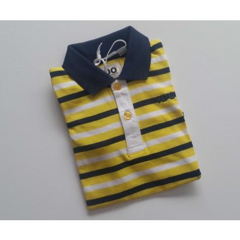 Polo rayas amarillo, marino y blanco