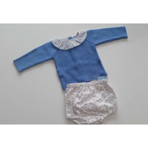 Conjunto braguita y suéter topos azul y mostaza