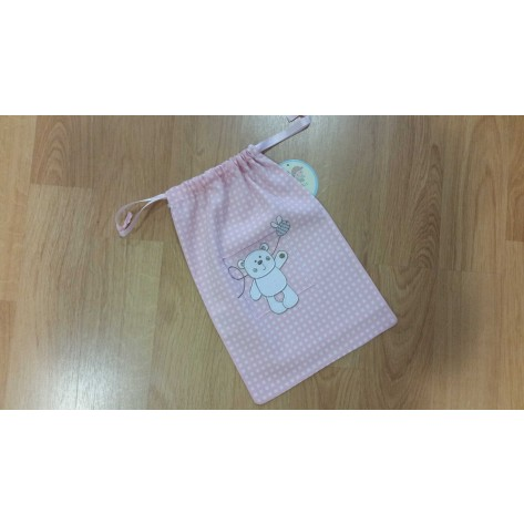 Bolsa merienda rosa cuadritos oso personalizada