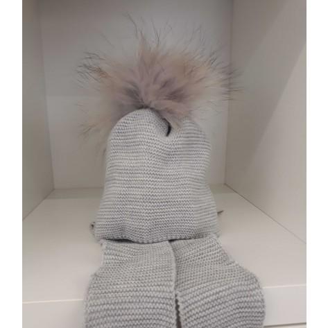 Gorro bufanda incorporada pompon pelo gris