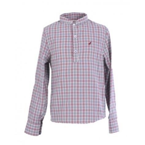 Camisa niño polera cuadros gris /  burdeos
