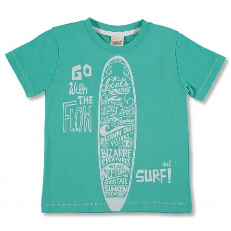 Camiseta manga corta verde tabla surf
